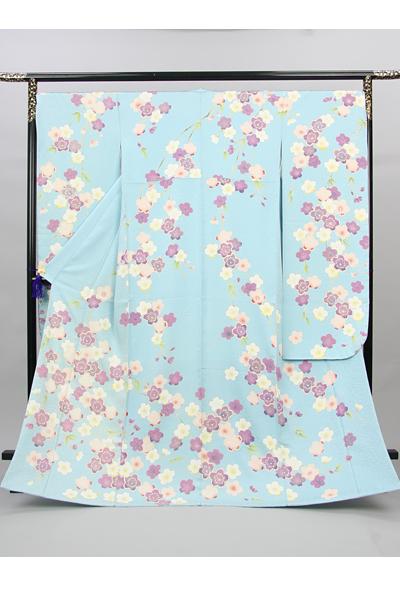 ◆【レンタル専用1809-00003】水色地にはんなり桜柄振袖
