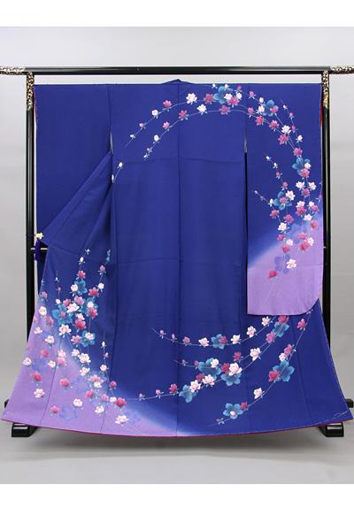 ◆【レンタル専用1809-00088】青地にエレガントな蔓花柄振袖