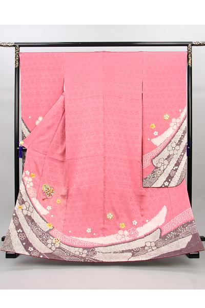 ◆【レンタル専用1809-00001】ピンク地に絞り熨斗目文様と毬柄の振袖