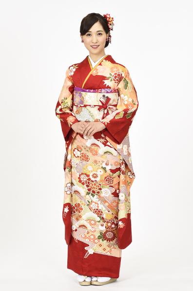 【MK-601】赤地に華の伝統古典四季花振袖