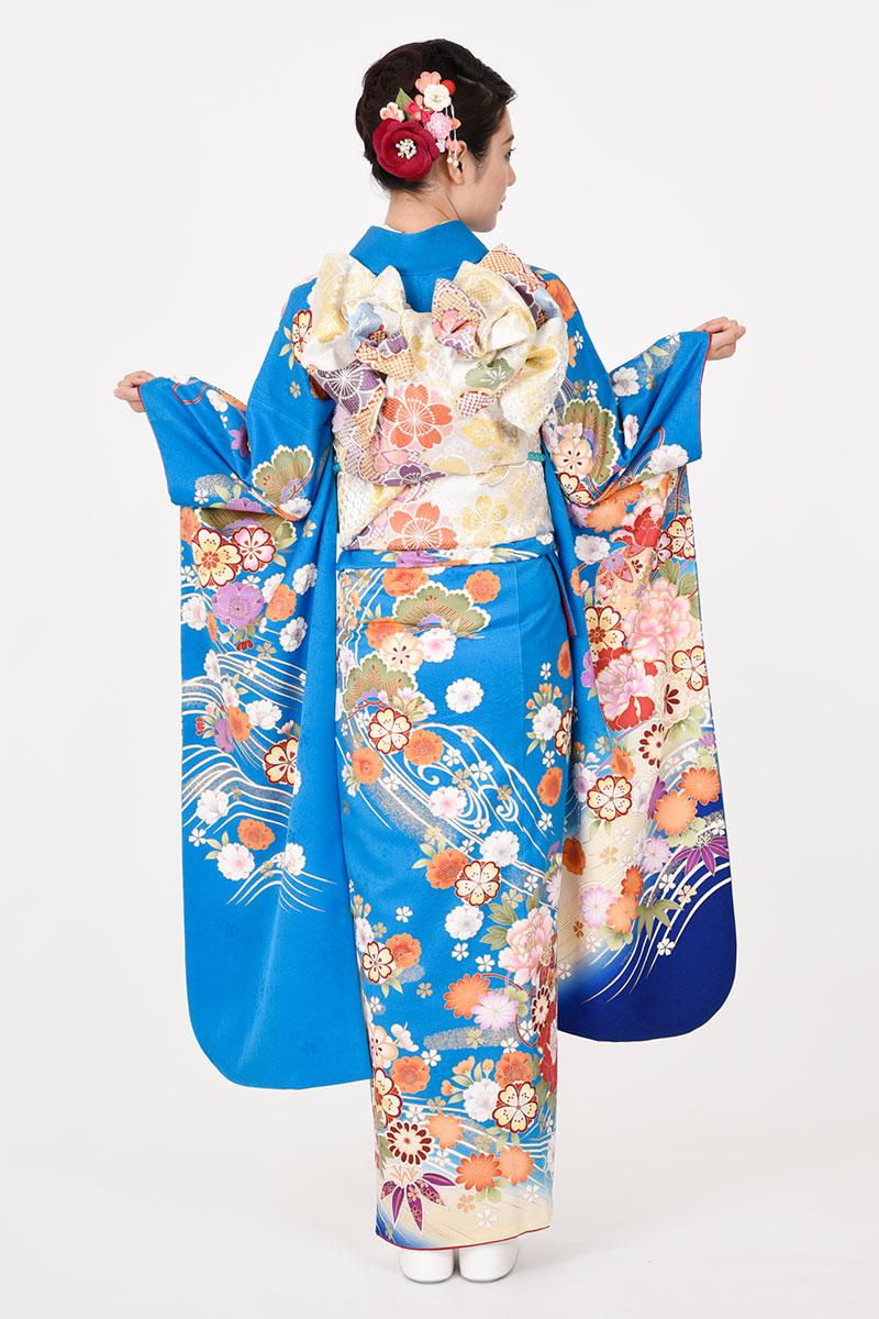 【MK-606】鮮やかコバルトブルーに花と貝桶柄振袖