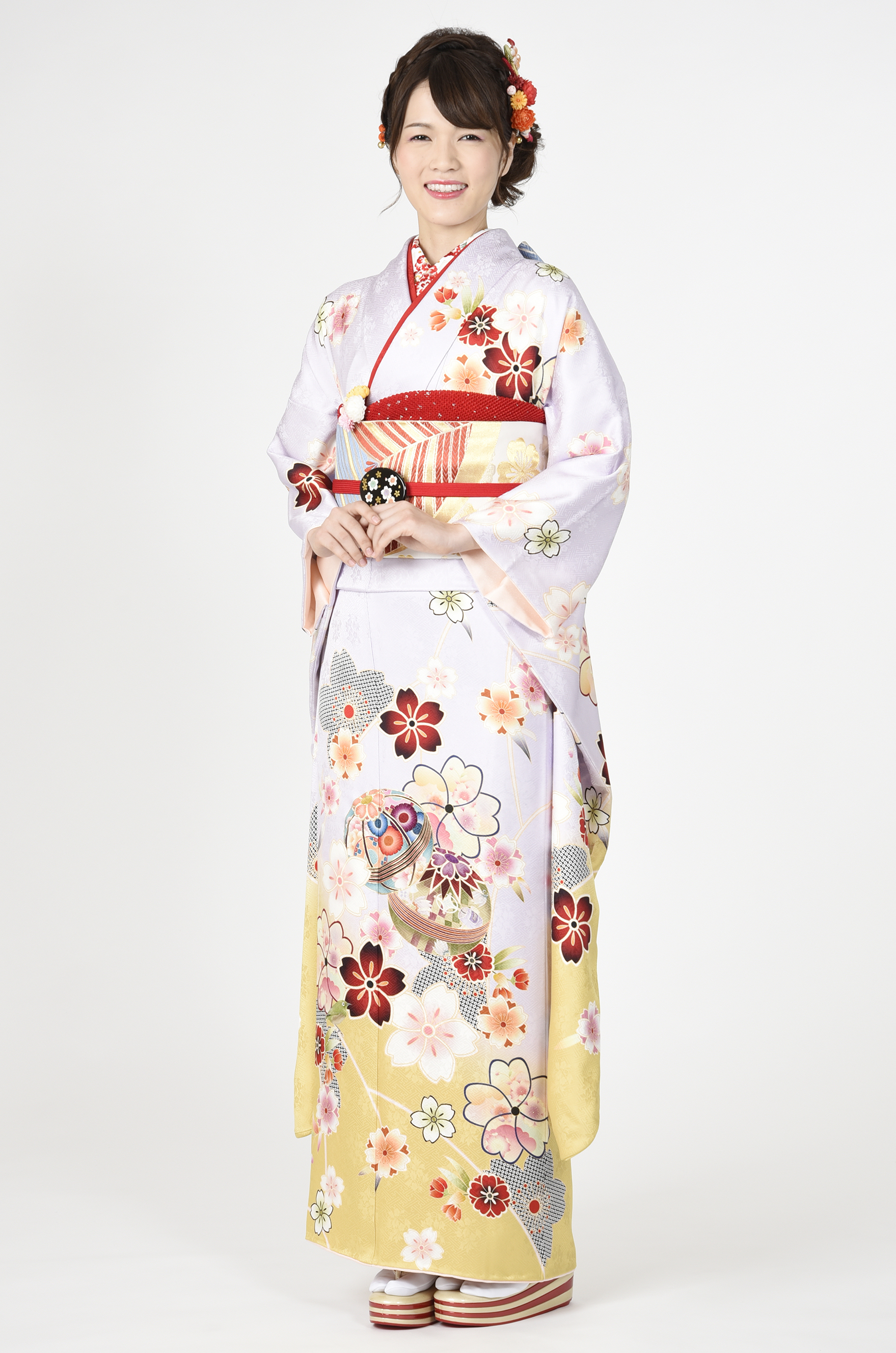 【MK-607】薄藤色に毬と桜柄振袖