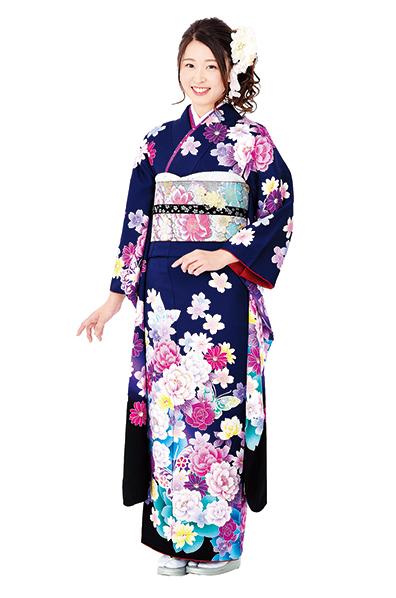【MKK-28003】★紺紫地に牡丹と舞のモダン柄振袖