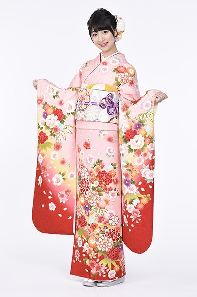 【MKK-28004】★ピンク地に牡丹桜と扇面柄振袖