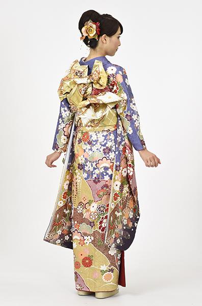 【MKK-2901】★群青地に豪華絢爛花車柄