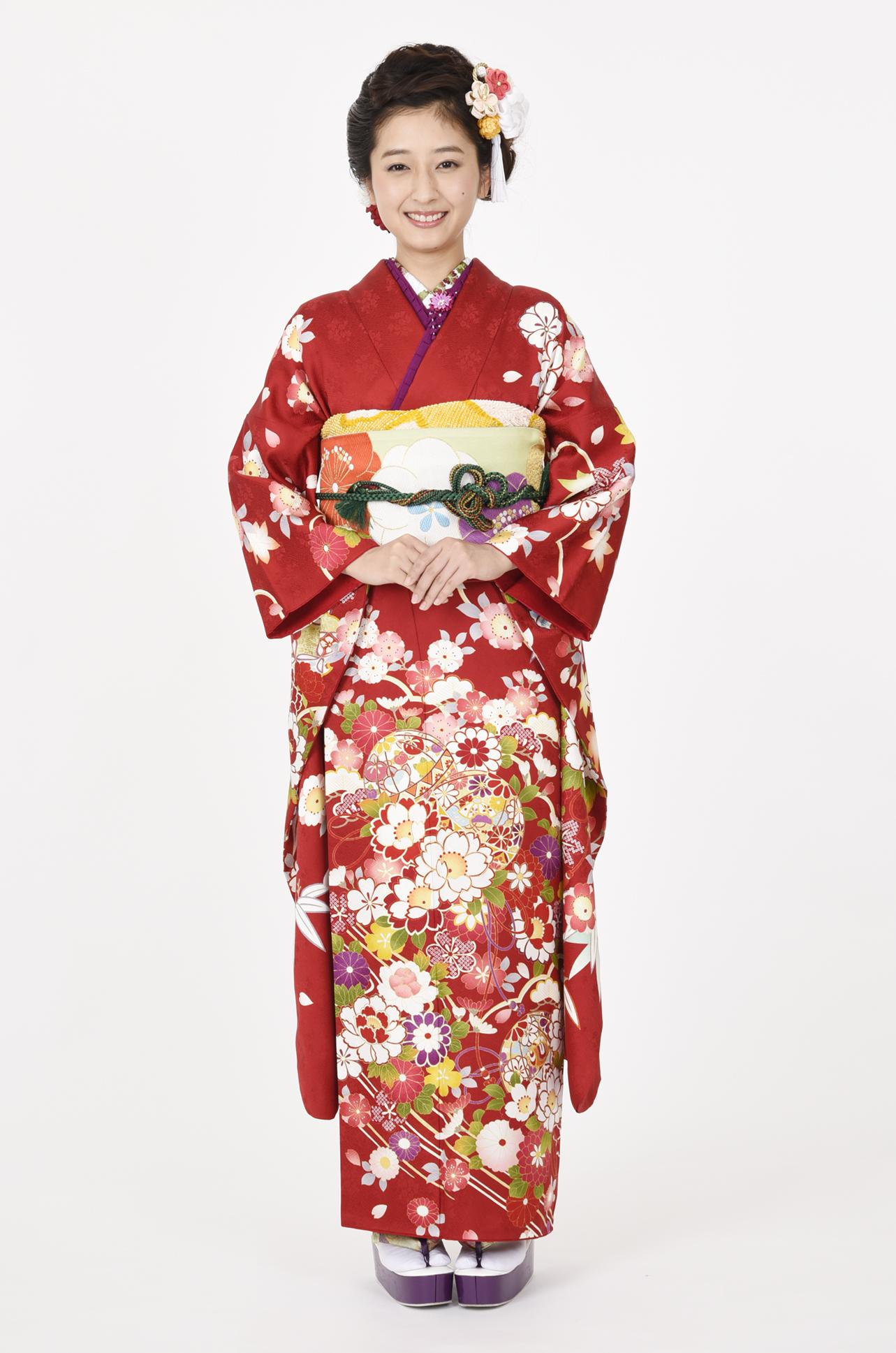 【MKK-2905】★赤地に愛らしい桜と毬柄振袖