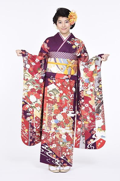 【MKK-28017】★上品な貝紫地に百花柄振袖