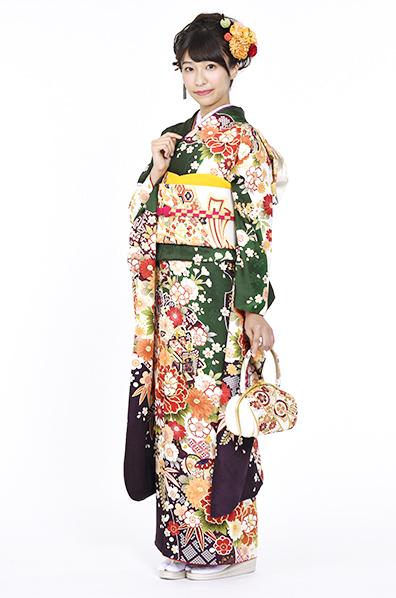 【MK-709】深緑地にドレッシーな桜牡丹柄振袖