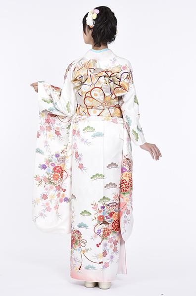 【MK-804】純白とピンク地に牡丹や枝垂桜
