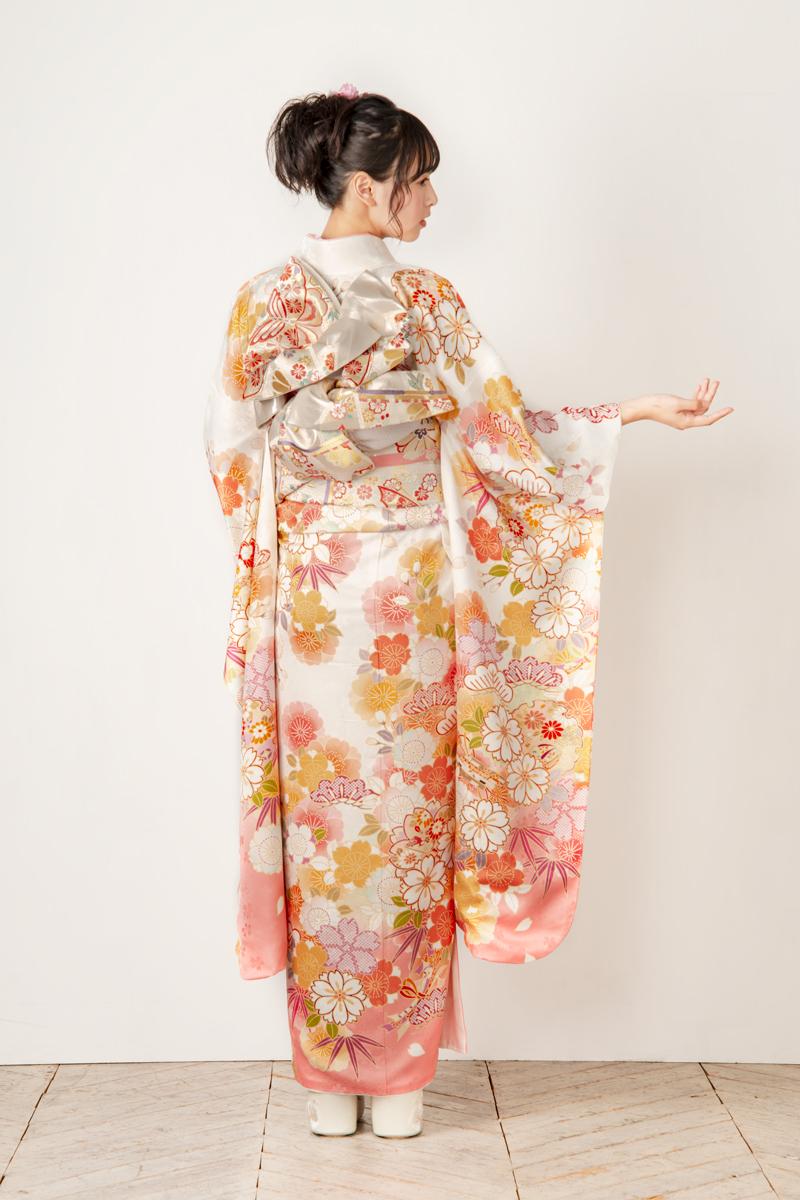【MKK-2903】★白地に桜と雪輪柄振袖